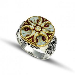 Silver and Enamel Chevalier Cross Ring ~ Dimitrios Exclusive D233