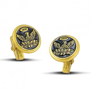 1821 Revolution 200th Anniversary Silver and Enamel Cufflinks ~ Dimitrios Exclusive MA133