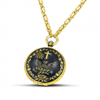 1821 Revolution 200th Anniversary Silver and Enamel Locket Pendant Necklace ~ Dimitrios Exclusive M133