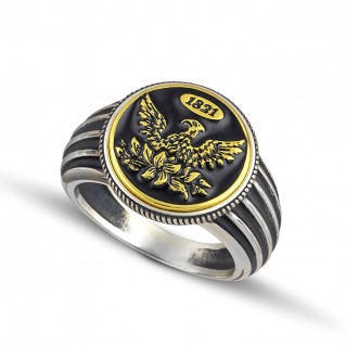 1821 Revolution 200th Anniversary Silver and Enamel Chevalier Ring ~ Dimitrios Exclusive D133