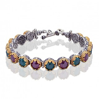 Silver and Multicolor Round Swarovski Crystals Link Bracelet ~ Dimitrios Exclusive B050