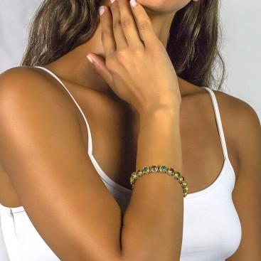 Silver and Multicolor Round Swarovski Crystals Link Bracelet ~ Dimitrios Exclusive B050