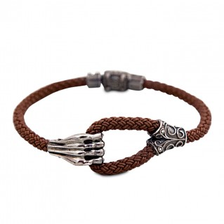 Silver and Braided Rubber Bracelet - The Grip ~ Dimitrios Exclusive B020