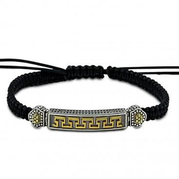 Braided Cord Bracelet with Two-Tone Greca-Meander Motifs ~ Dimitrios Exclusive B099-4