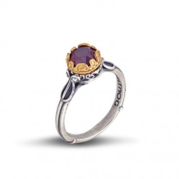 Silver and Round Swarovski Crystal Single Stone Ring ~ Dimitrios Exclusive D050