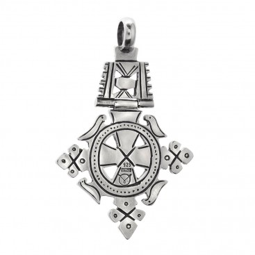 Sterling Silver Large Coptic Cross Pendant with Doves ~ Savati 349