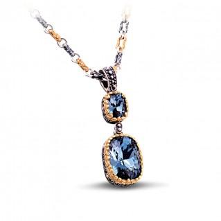Silver and Swarovski Crystals Dangle Pendant with Three Tone Chain ~ Dimitrios Exclusive M062