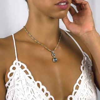 Silver and Swarovski Crystals Dangle Pendant with Three Tone Chain ~ Dimitrios Exclusive M062