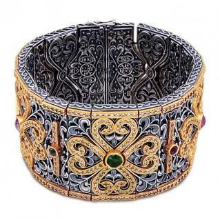 Wide Bangle Bracelet with Semi-Precious Gemstones ~ Dimitrios Exclusive B055
