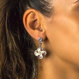Clover Drop Earrings in Silver, Enamel and Zircon ~ Dimitrios Exclusive S110