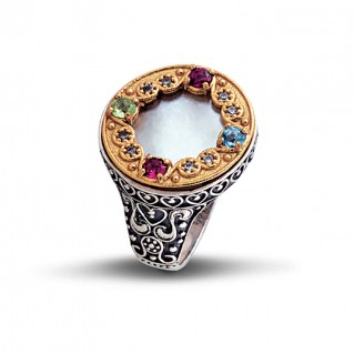 Semi-Precious Stones on Mother of Pearl Round Cocktail Ring ~ Dimitrios Exclusive D067