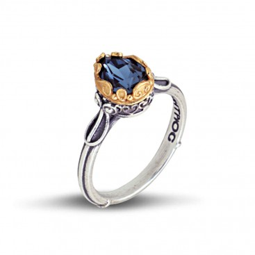 Silver and Swarovski Crystal Single Stone Ring ~ Dimitrios Exclusive D048