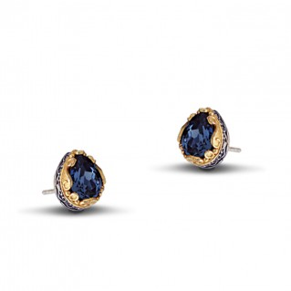 Silver Teardrop Stud Earrings with Swarovski Crystals ~ Dimitrios Exclusive S048