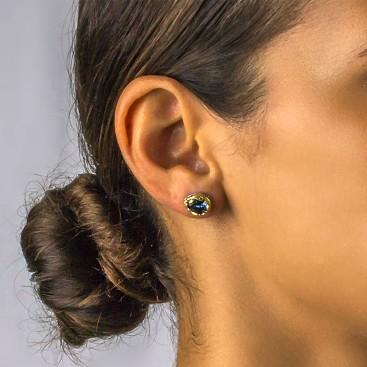 Silver Teardrop Stud Earrings with Swarovski Crystals ~ Dimitrios Exclusive S048