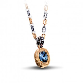 Silver and Swarovski Crystal Reversible Pendant with Three Tone Chain ~ Dimitrios Exclusive M069