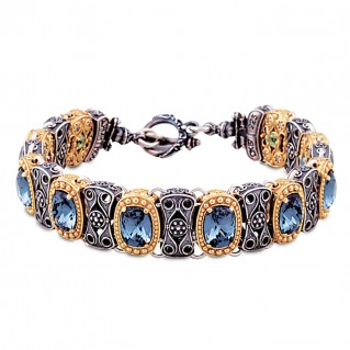 Reversible Link Bracelet with Swarovski Crystals and Gemstones ~ Dimitrios Exclusive B069