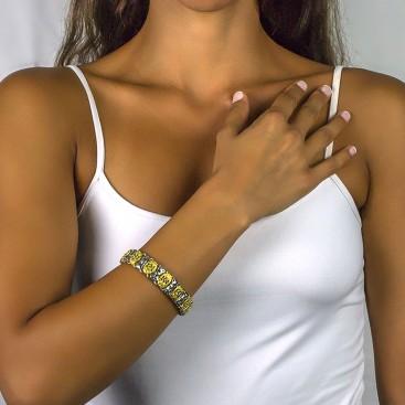 Reversible Link Bracelet with Swarovski Crystals and Gemstones ~ Dimitrios Exclusive B069