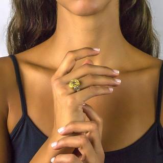 Silver and Swarvoski Crystal Reversible Cocktail Ring ~ Dimitrios Exclusive D069