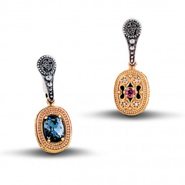 Reversible Silver Drop Earrings with Swarovski Crystals and Gemstones ~ Dimitrios Exclusive S069