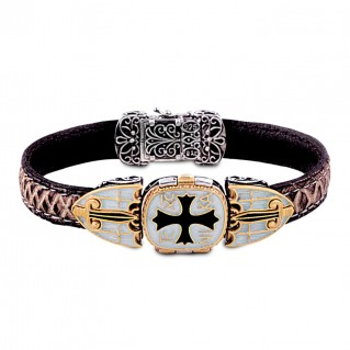 Conqueror's Cross Silver, Enamel and Leather Locket Bracelet ~ Dimitrios Exclusive B070