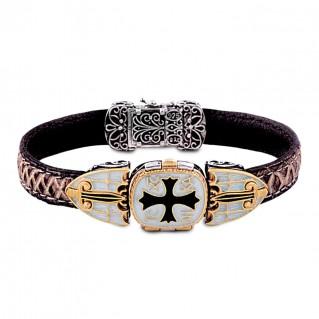 Conqueror's Cross Silver, Enamel and Leather Locket Bracelet ~ Dimitrios Exclusive B070