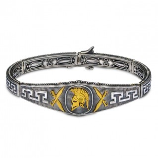 Spartan Warrior Silver Men's Bangle Bracelet ~ Dimitrios Exclusive B099