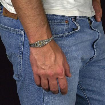Spartan Warrior Silver Men's Bangle Bracelet ~ Dimitrios Exclusive B099