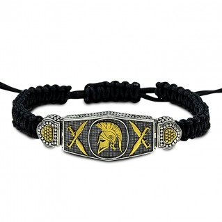 Spartan Warrior Silver and Braided Cord Bracelet ~ Dimitrios Exclusive B099-3