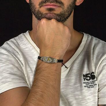 Spartan Warrior Silver and Braided Cord Bracelet ~ Dimitrios Exclusive B099-3
