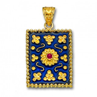 18K Solid Gold and Blue Enamel Ornate Large Rectangle Pendant with Ruby - B
