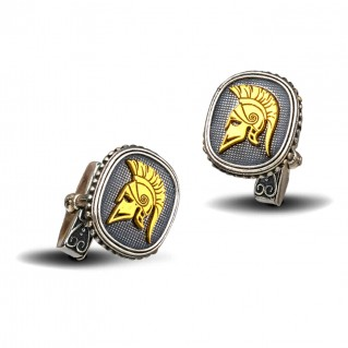 Spartan Warrior Three Tone Silver Cufflinks ~ Dimitrios Exclusive MA099