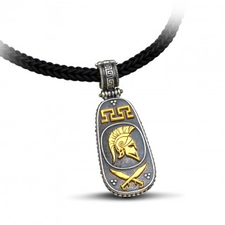 Spartan Warrior Silver Pendant Necklace with Rubber Choker ~ Dimitrios Exclusive M099