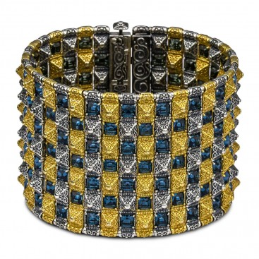 Wide Reversible Bracelet with Gold Accents and Swarovski Crystals ~ Dimitrios Exclusive B365