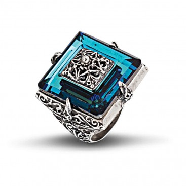 Silver and Blue Swarovski Crystal Square Cocktail Ring ~ Dimitrios Exclusive D177