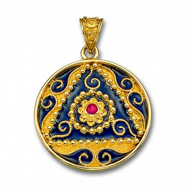18K Solid Gold and Blue Enamel Ornate Large Round Pendant with Ruby - B