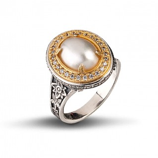 Mabe Pearl Silver Oval Cocktail Ring ~ Dimitrios Exclusive D084