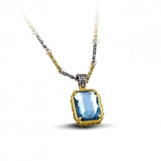 Reversible Pendant with Swarovski Crystal and Three Tone Bar Link Chain ~ Dimitrios Exclusive M092