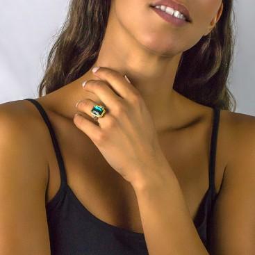 Silver and Swarvoski Crystals Reversible Cocktail Ring ~ Dimitrios Exclusive D092