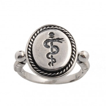 Rod of Asclepius Sterling Silver Signet Ring ~ Savati 352
