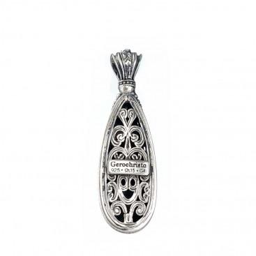 Gerochristo 1584N ~ Sterling Silver Teardrop Pendant with Doublet Stone