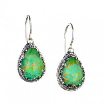 Gerochristo 1603N ~ Sterling Silver Medieval Teardrop Earrings with Doublet Stones