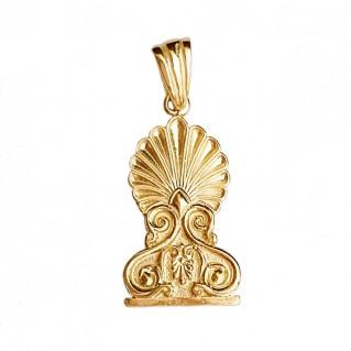 Gold Plated Silver Greek Hellenistic Palmette Antefix Charm Pendant