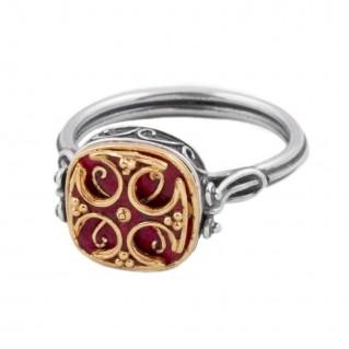 D217 ~ Sterling Silver & Enamel Medieval Byzantine Ring