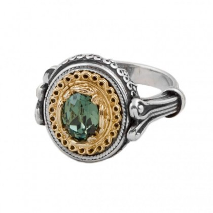 D295 ~ Sterling Silver and Swarovski - Medieval Byzantine Ring