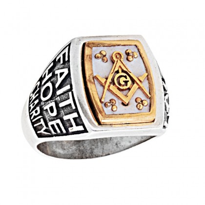 D327 ~ Sterling Silver & Enamel Masonic Ring