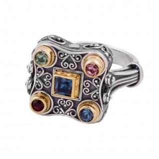 D283 ~ Silver & Swarovski - Medieval Byzantine Cocktail Ring