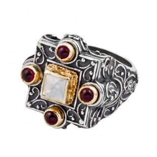 D257 ~ Gems and Swarovski Sterling Silver Medieval Byzantine Cocktail Ring