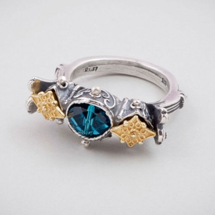 D271 ~ Sterling Silver and Swarovski - Medieval Byzantine Ring