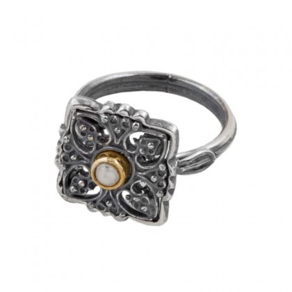 D264-1 ~ Sterling Silver & Pearl - Medieval Byzantine Ring