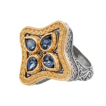D285 ~ Sterling & Gold Plated Silver with Swarovski - Medieval Byzantine Ring